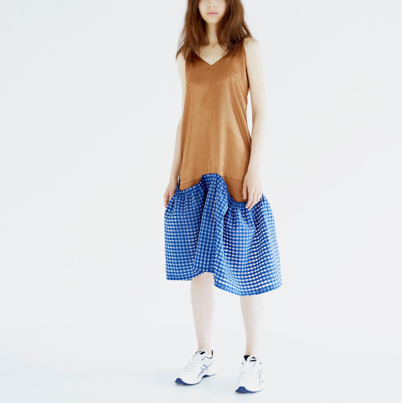 Satin Gathered Skirt Dress_BZ