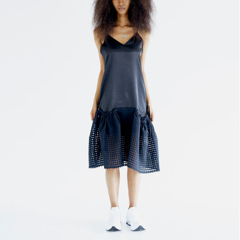Satin Gathered Skirt Dress_BK