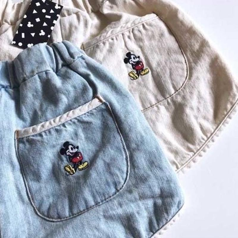 ★ミッキーリネンデニムショートパンツ★(Disney公式商品)