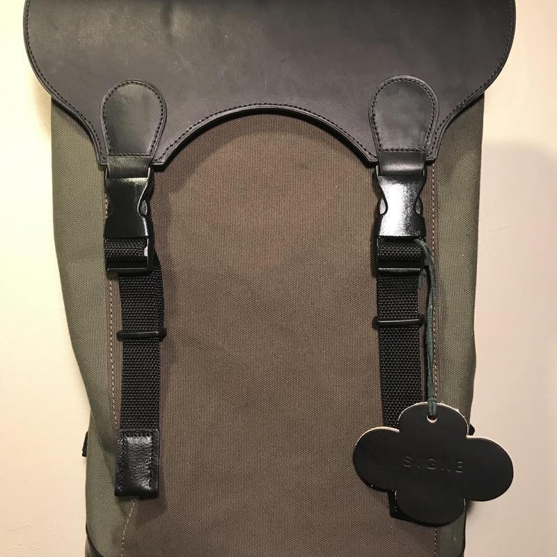 展示品処分SALE60%オフレザー&帆布コンビbackpack sample
