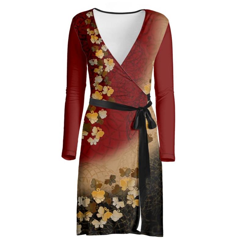 蝶家紋装飾 ラップドレス・マキシワンピース