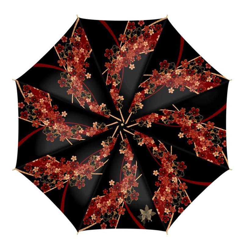 桜と蝶家紋装飾 傘