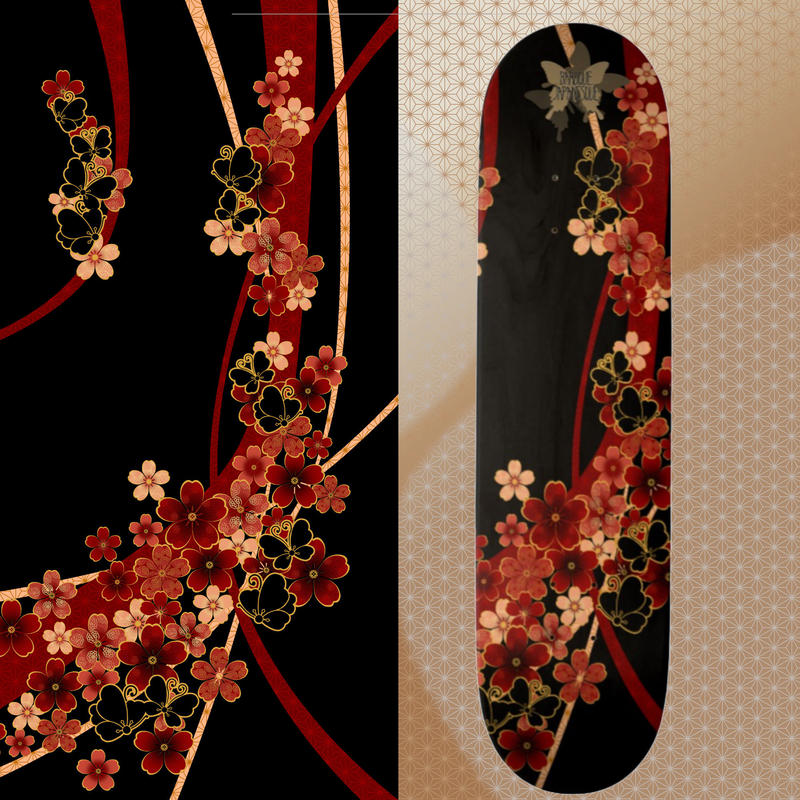 Cherry blossoms and butterfly Skateboard