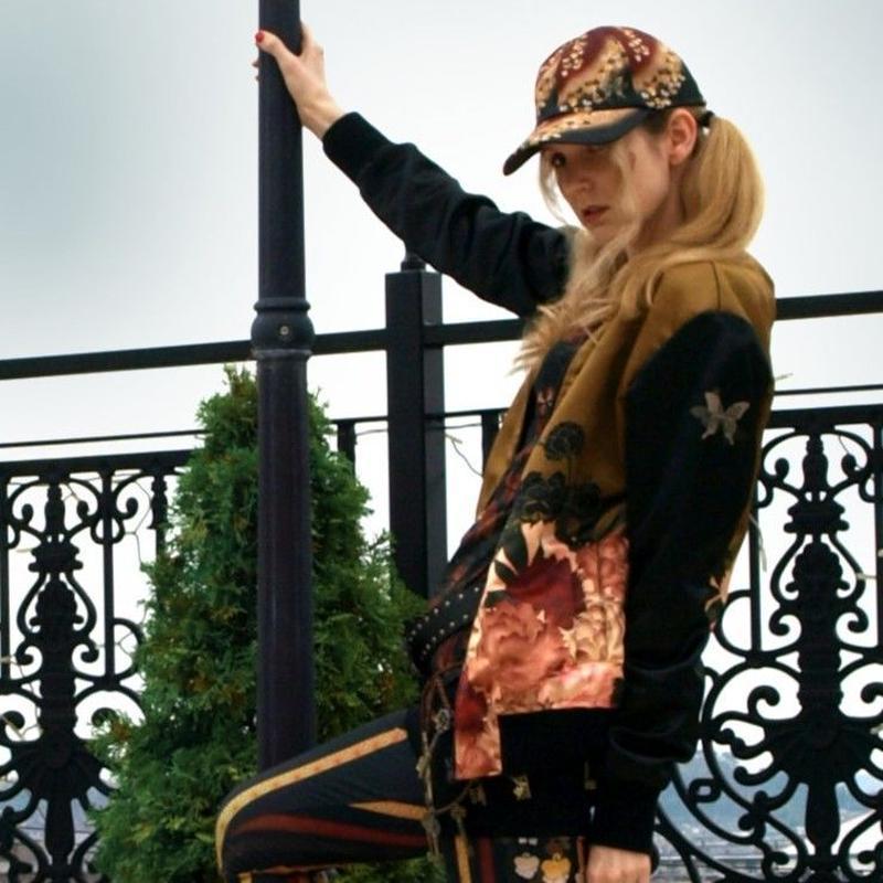 和風牡丹装飾ボンバージャケット・ブルゾン