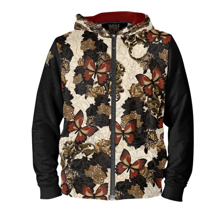 薔薇と蝶 ユニセックスパーカー