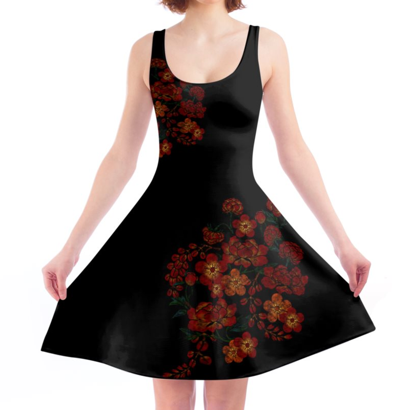 Japanese style Flower art A line dress