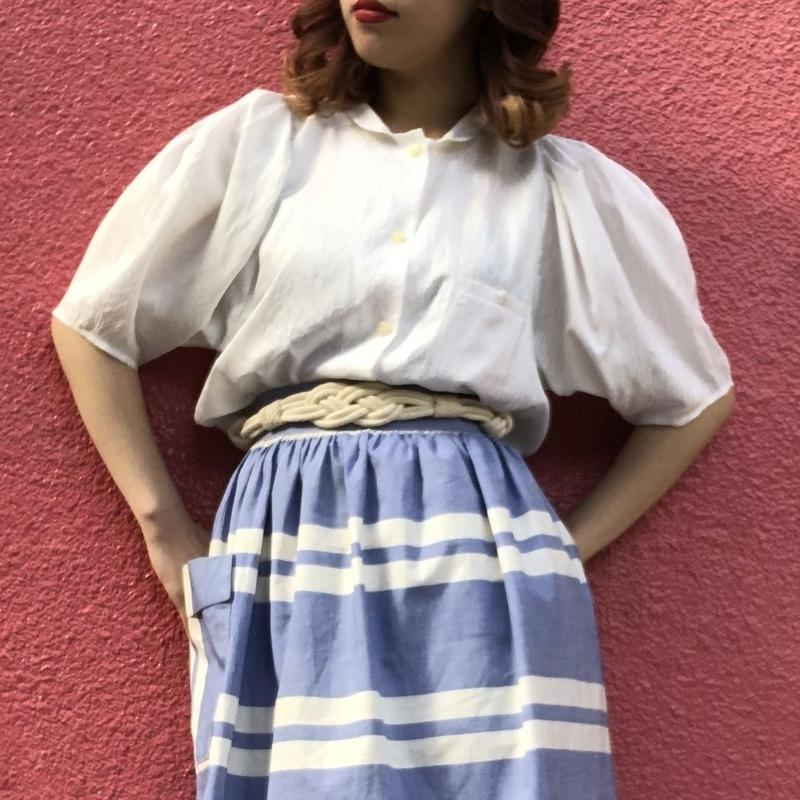 Vintage white mini collar puff sleeve  blouse