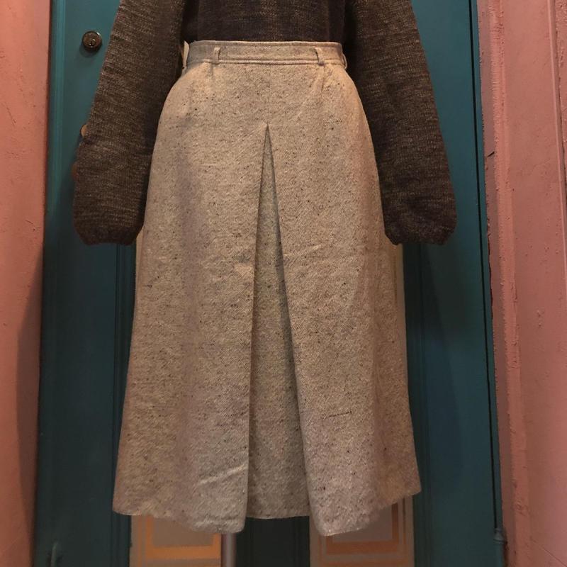 ヴィンテージ  ウール ネップ ボックスプリーツ スカート