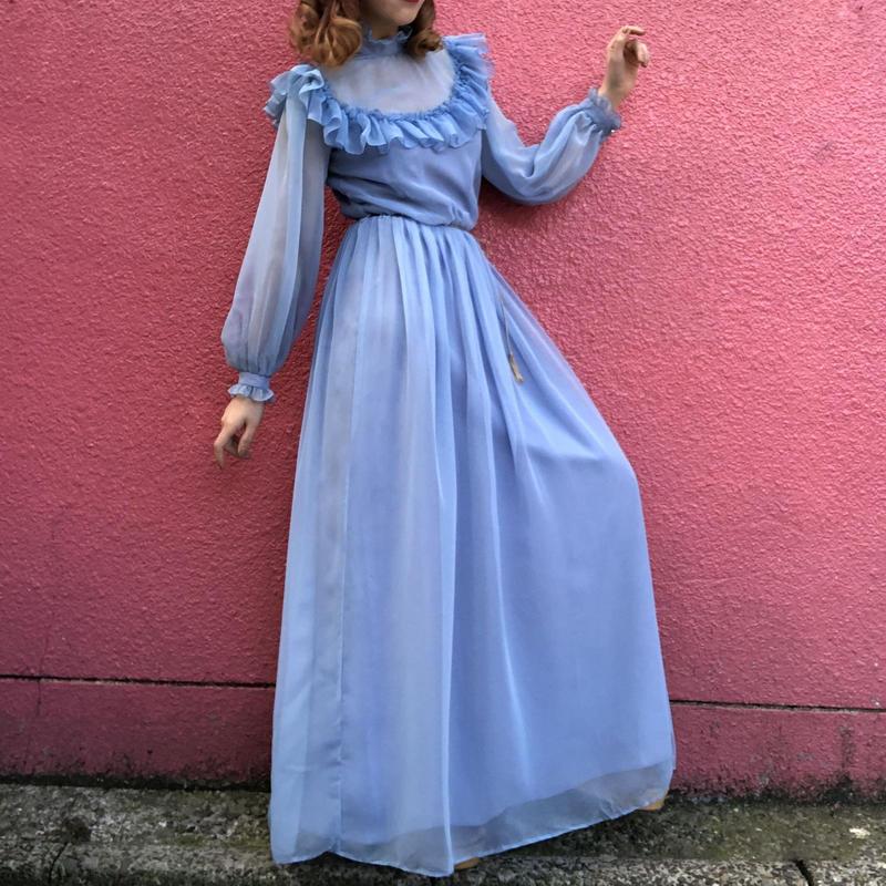 Vintage light blue chiffon frill long dress