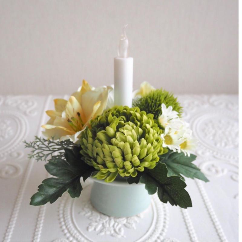*新色 仏花〈火を使わない LED ロウソク 〉お供え花*鞠花 B43  (花器 薄翡翠色)