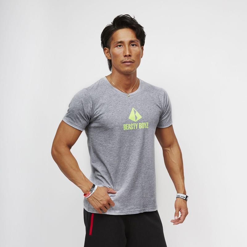 センタープリントTシャツ  カラー:グレー  品番:0005