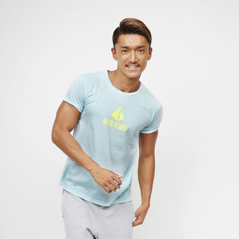 センタープリントTシャツ  カラー:サックス 品番:0005