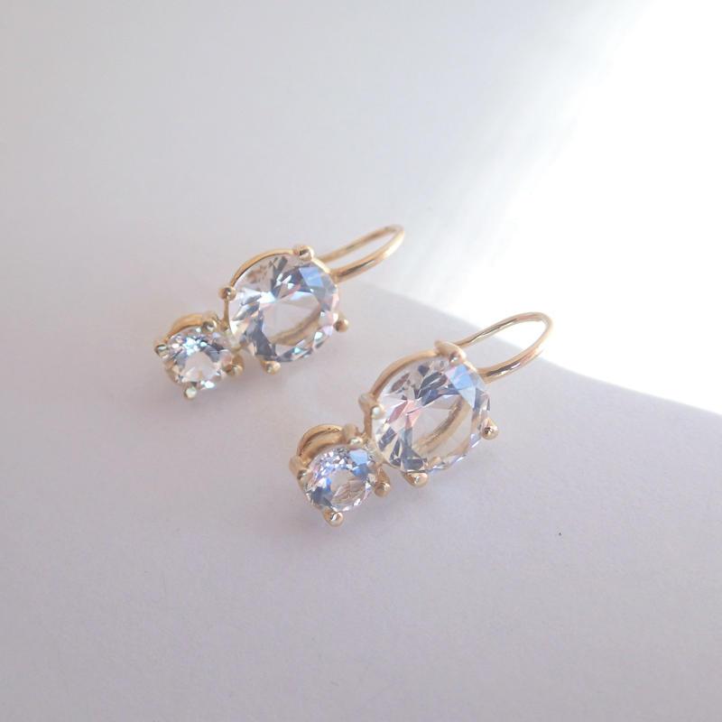 Dew earrings(クリアクォーツ/ホワイトトパーズ)