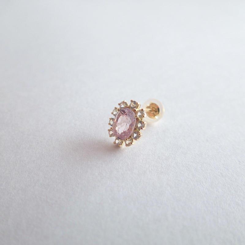 Sparkle earrings studs(ピンクスピネル・オーバル)