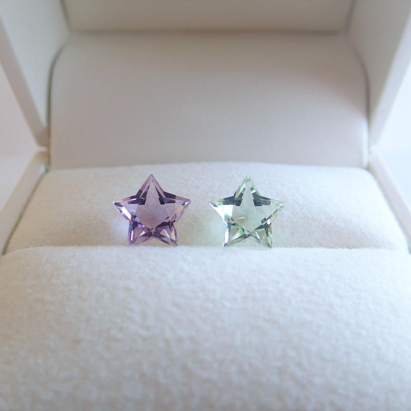 Etoile Earrings M (ローズアメジスト/グリーンクォーツ)