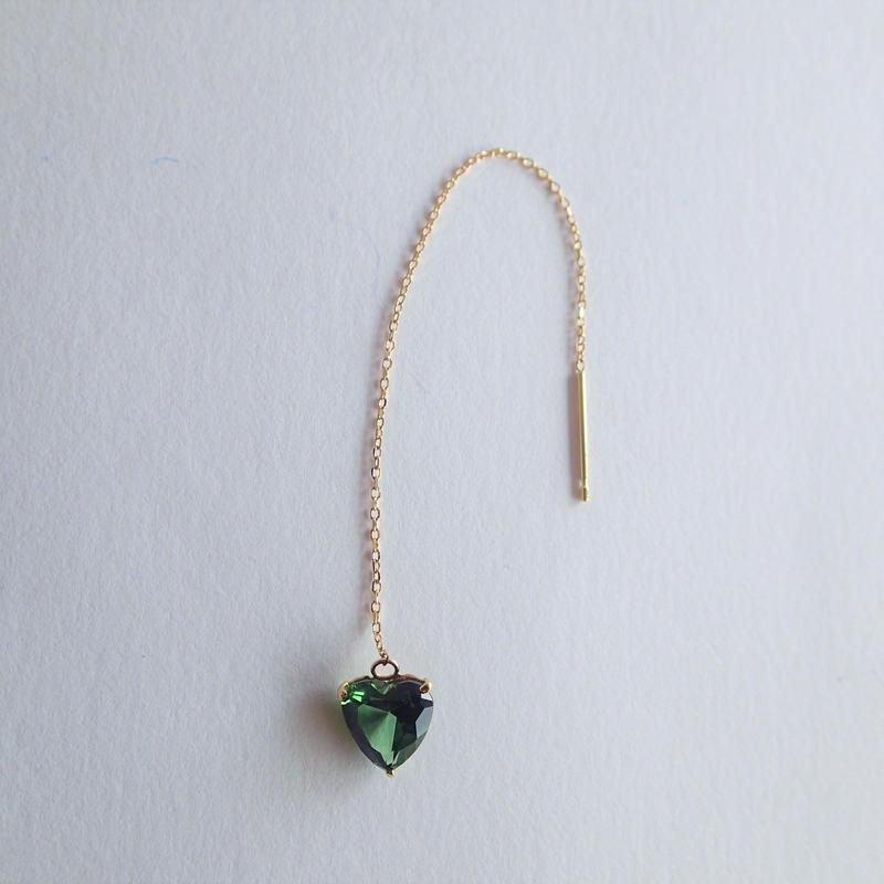 amulet earrings  (グリーントルマリン)