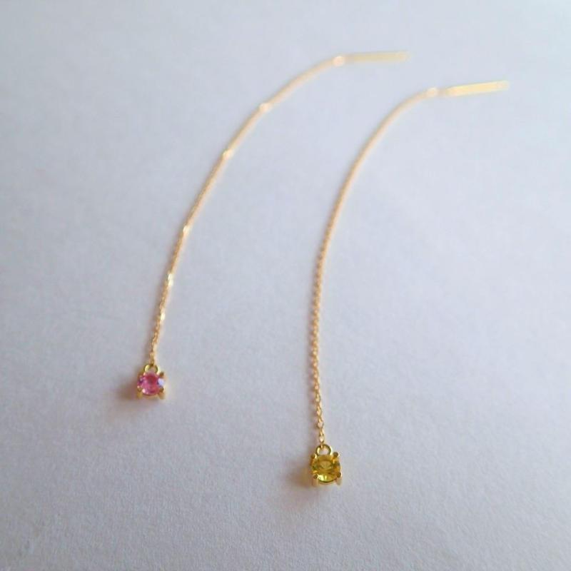 Starlight Earrings (ピンクサファイア、イエローサファイア)