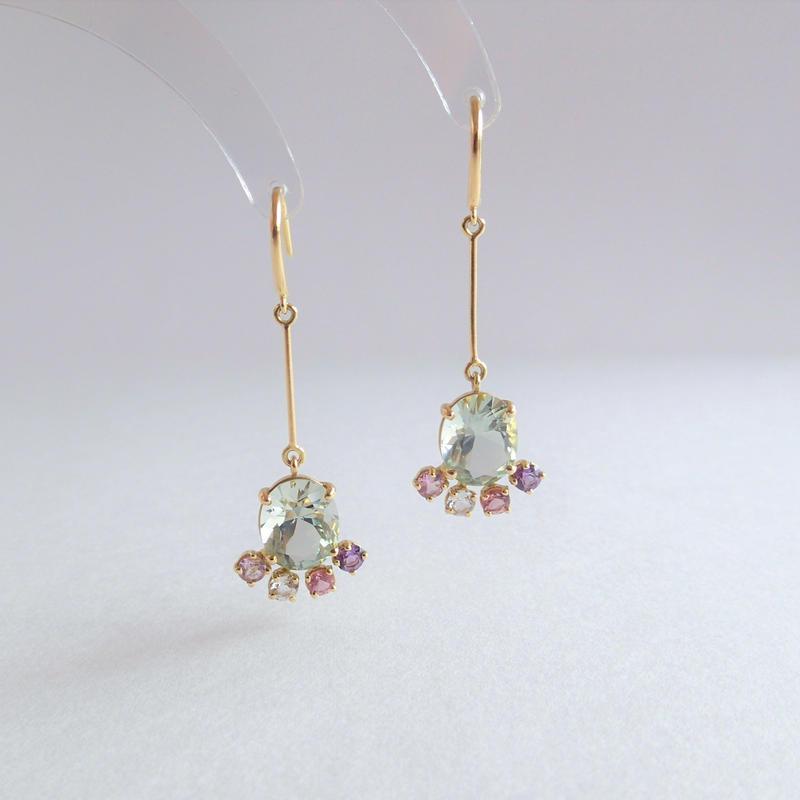 leap earrings (グリーンクォーツ)