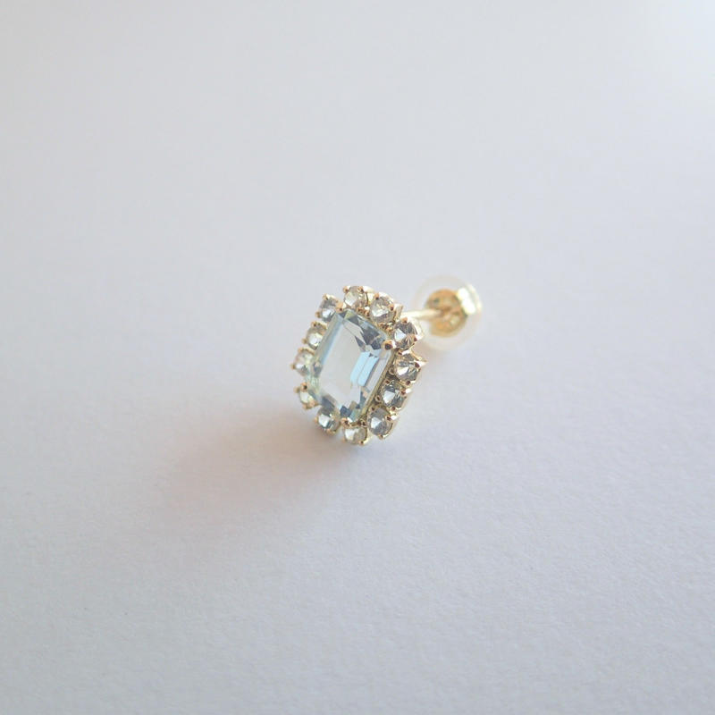 Sparkle earrings studs(アクアマリン・スクエア)