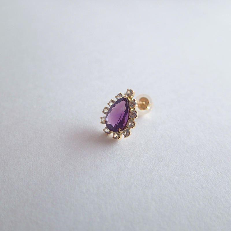 Sparkle earrings studs(アメジスト・ペアシェイプ)