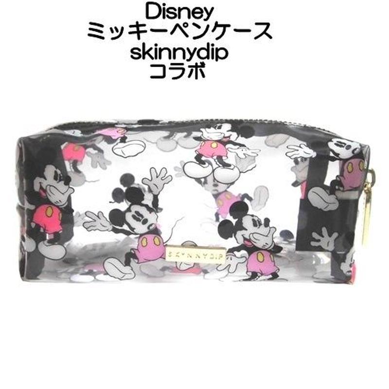 Disney ディズニー ミッキーマウス ペンケース skinnydip コラボ ペンポーチ 透明 コスメ ファスナー 筆箱 キャラクター マチ付き