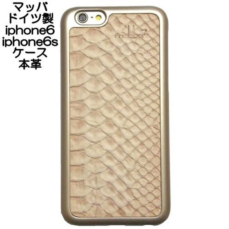 mabba マッバ 本革 iphone6sケース iphone6ケース レザー ゴールド 型押し snake gold 保護フィルム付