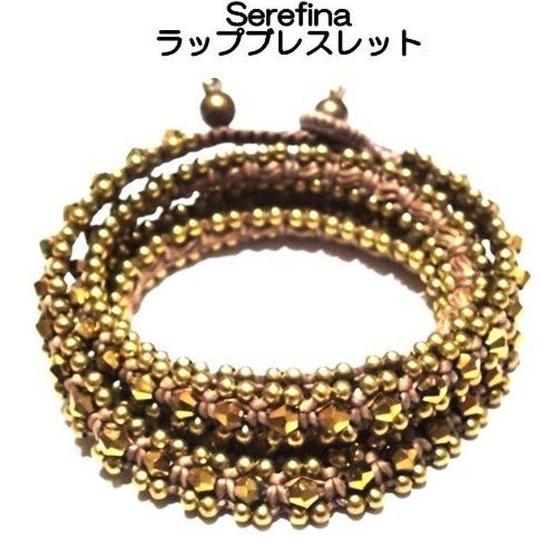serefina セレフィーナ ぐるぐる巻きラップブレスレット Triple Wrap Crystal gold ゴールド 真鍮 クリスタル