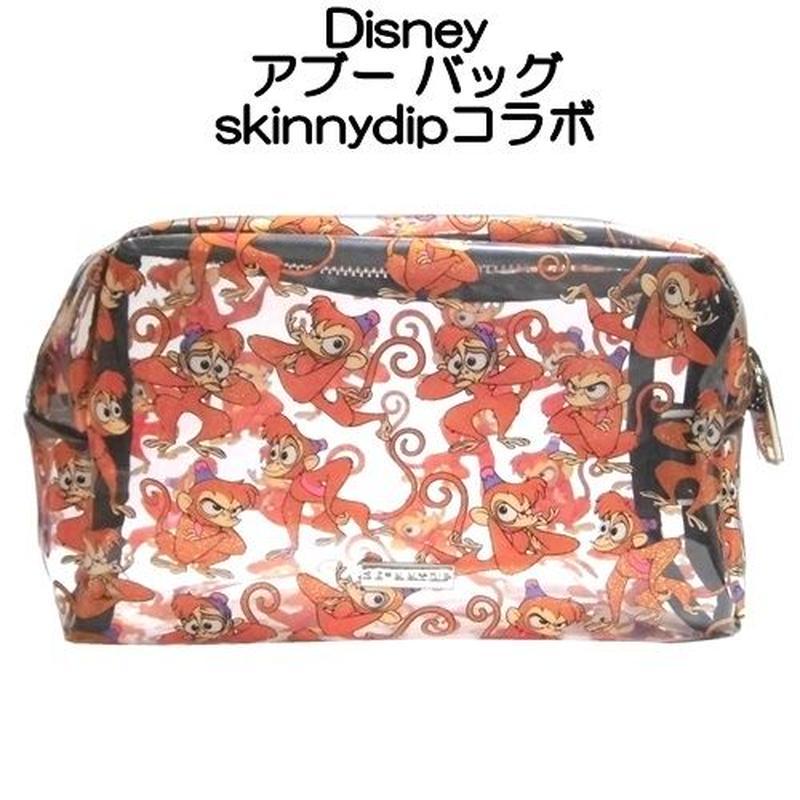 disney skinnydip コラボ アラジンの相棒の猿 アブー メイクアップバッグ abu make up bag 横長 透明ポーチ クリア