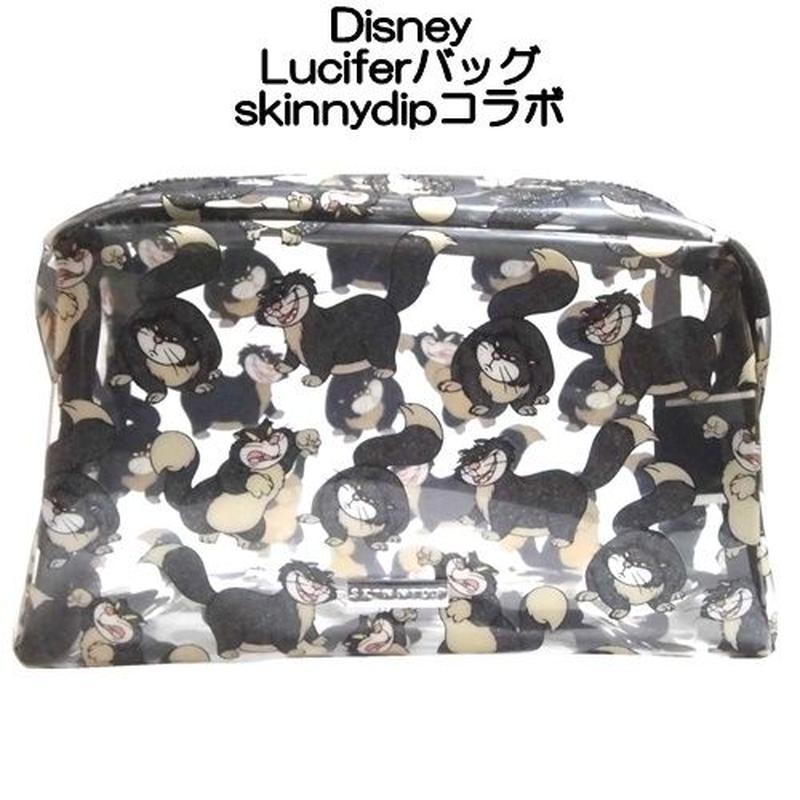 disney skinnydip コラボ ルシファー メイクアップバッグ lucifer make up bag 猫 ディズニー 小物入れポーチ