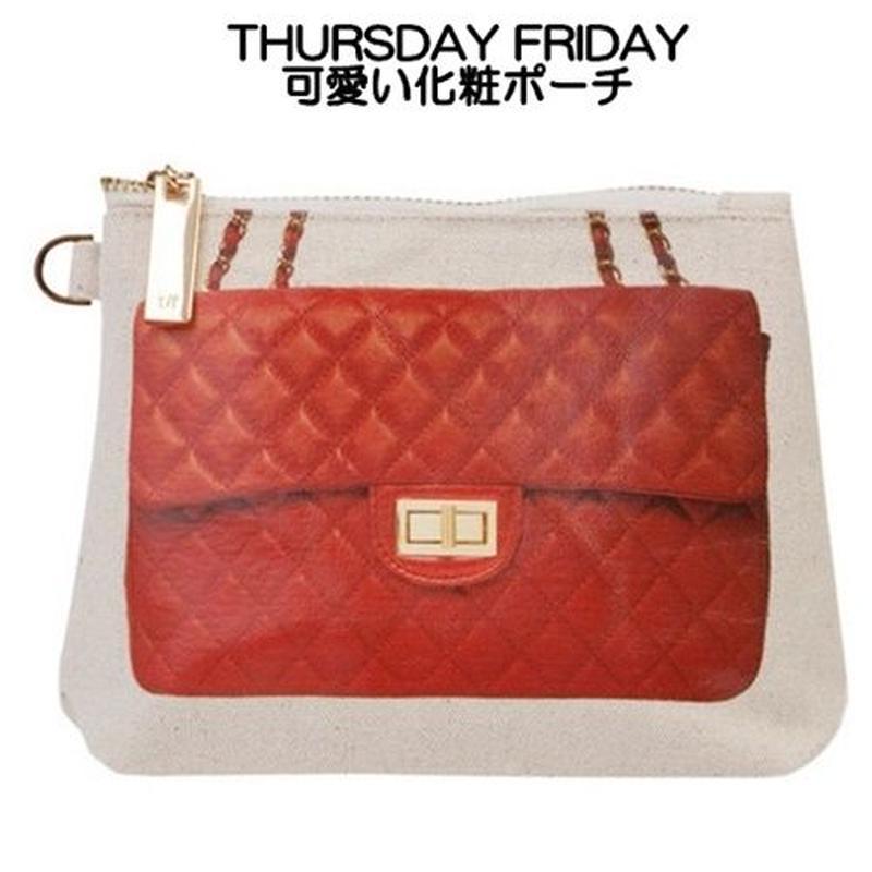 アウトレット THURSDAY FRIDAY サーズデーフライデー キャンバスポーチ 化粧ポーチ レッド bag makeup pouch