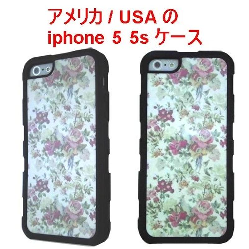 アメリカ の フラワー プリント flower iphone 5 5s SE case black オシャレ 花柄 ブラック アイフォン ファイブ エス ケース 携帯カバー 海外 ブランド