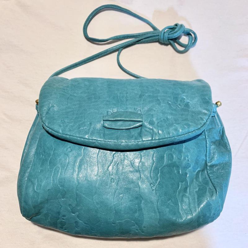 【Used Item】Leather shoulder bag / レザー水色バッグ
