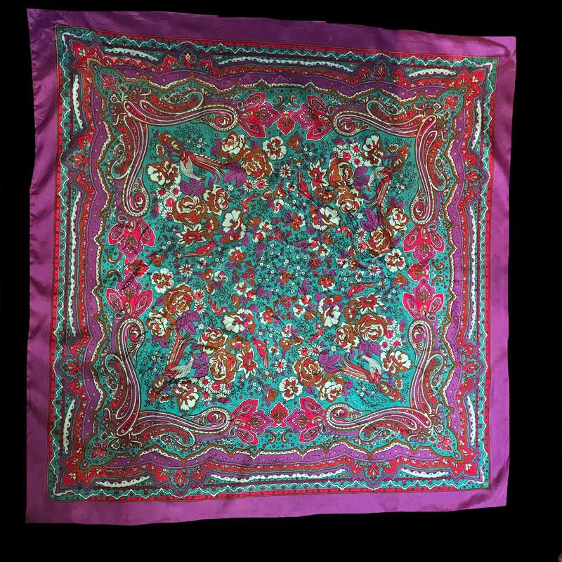 【used】Flower design scarf / 花柄スカーフ紫