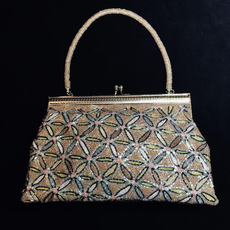 【Used】Flower pattern  handbag / 花柄ビーズハンドバッグ