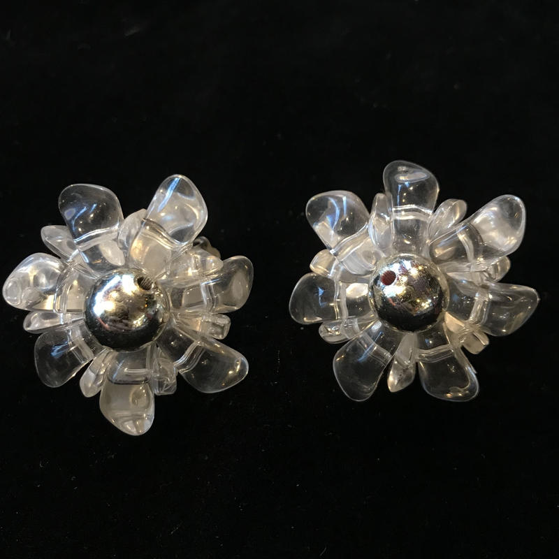 【Vintage 】Clear flower Earrings / クリアフラワーイヤリング