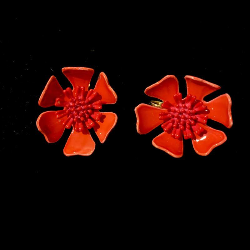 【Vintage】Red flower Earrings/ フラワーイヤリング