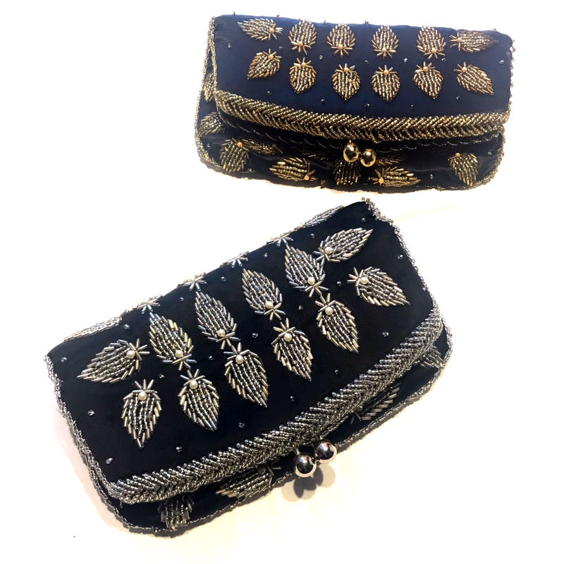 【Used】Beads  snap lock clutch bag / がま口クラッチバッグ