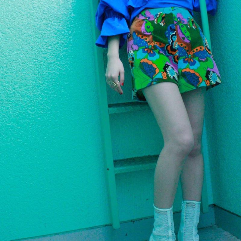 【Vintage】1960's butterfly design velvet short pants / バタフライベルベットショートパンツ