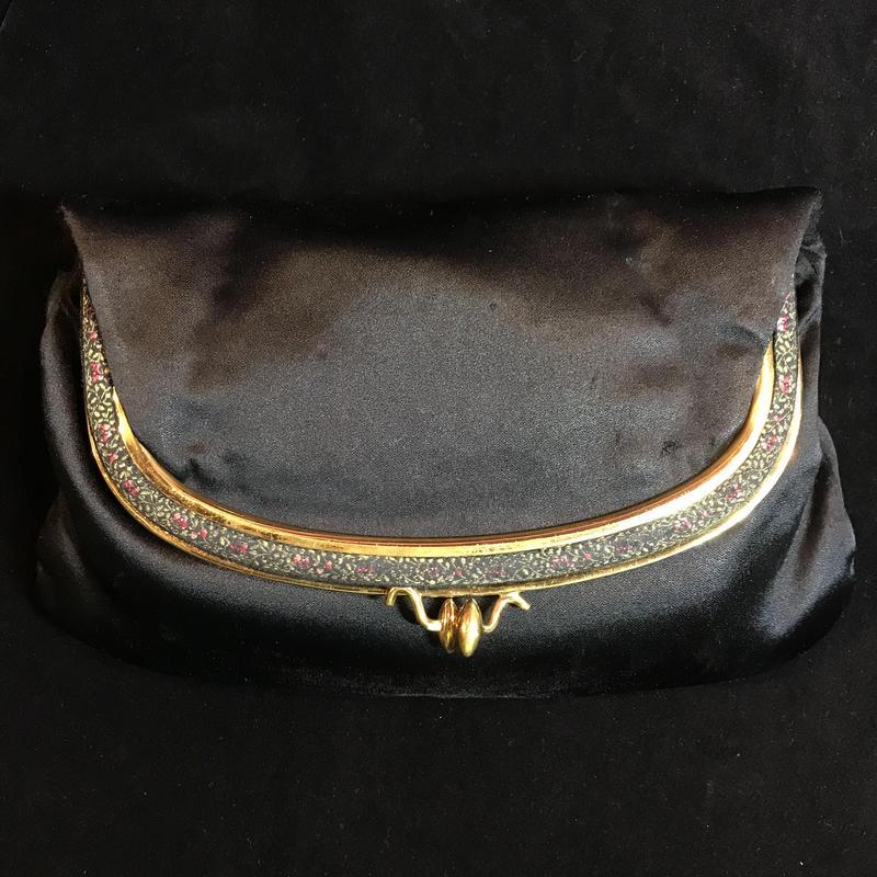 【Vintage】1950's clutch satin bag / がま口クラッチサテンバッグ