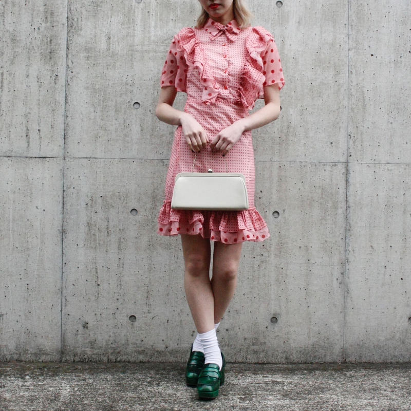 【migration】Dot print frill design one piece /mg-232  / ドット柄フリルワンピース