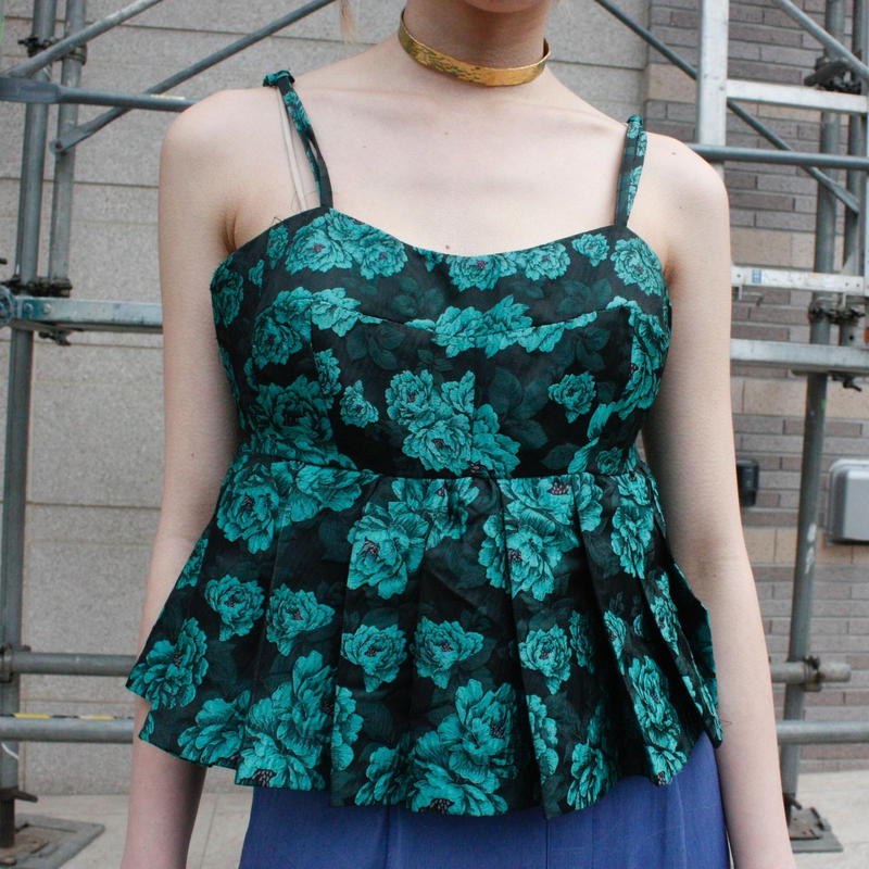 【ahcahuum】Jacquard flower  pattan tops / ジャガード花柄トップス