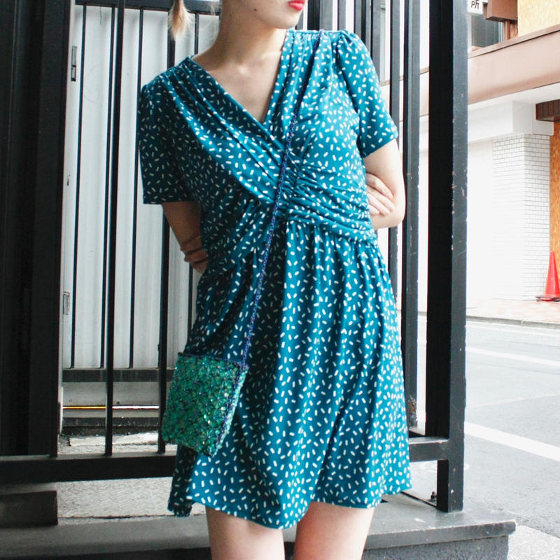 【Used】Turquoise blue cache-coeur one piece  / 柄入りカシュクールワンピース