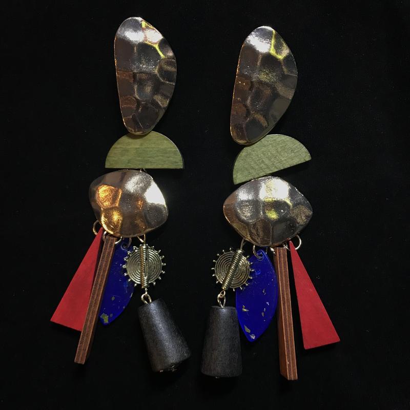 【Selected item】Gold×Wood Design pierce / mg193