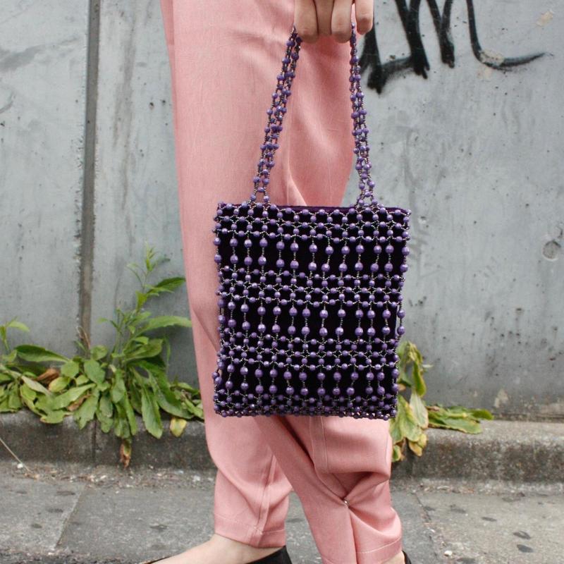 【Used Item】Purple beads hand bag / 編みビーズハンドバッグ