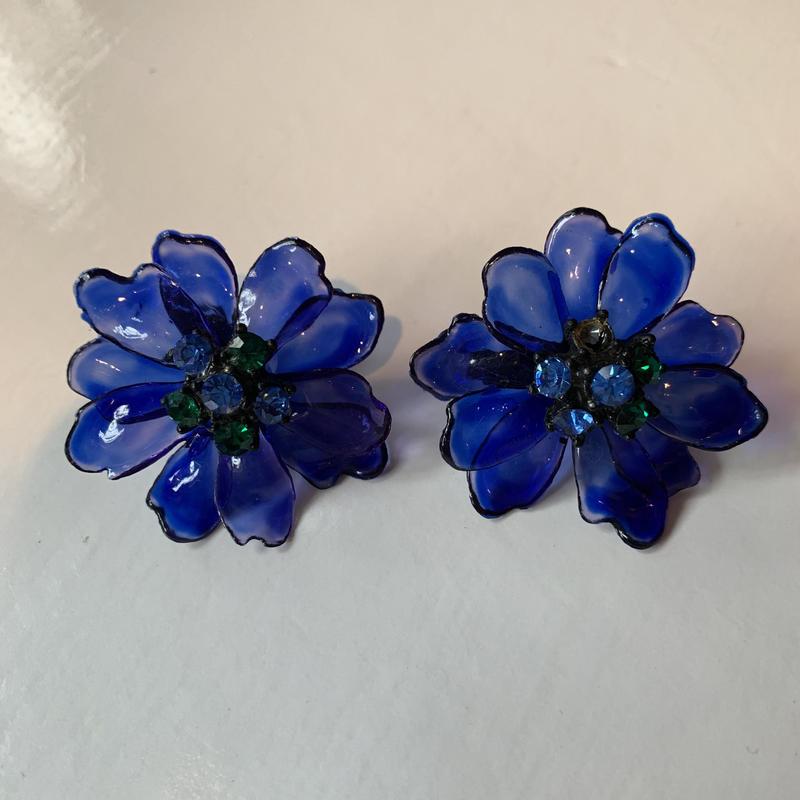 【Vintage】Blue clear flower earrings / ブルークリア花イヤリング