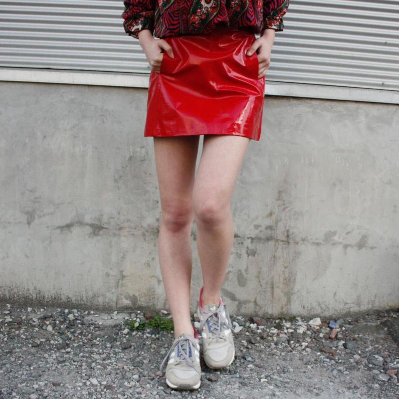 【migration】Sheep skin leather enamel skirt /mg-166 / 羊革エナメルミニスカート