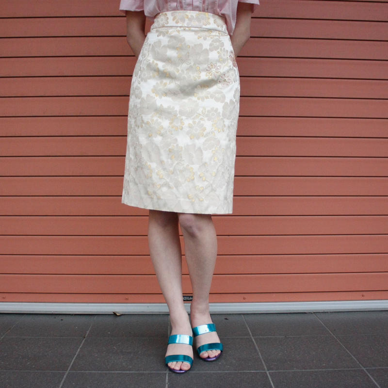 【Used】Jacquard flower gold skirt / ゴールド花柄スカート