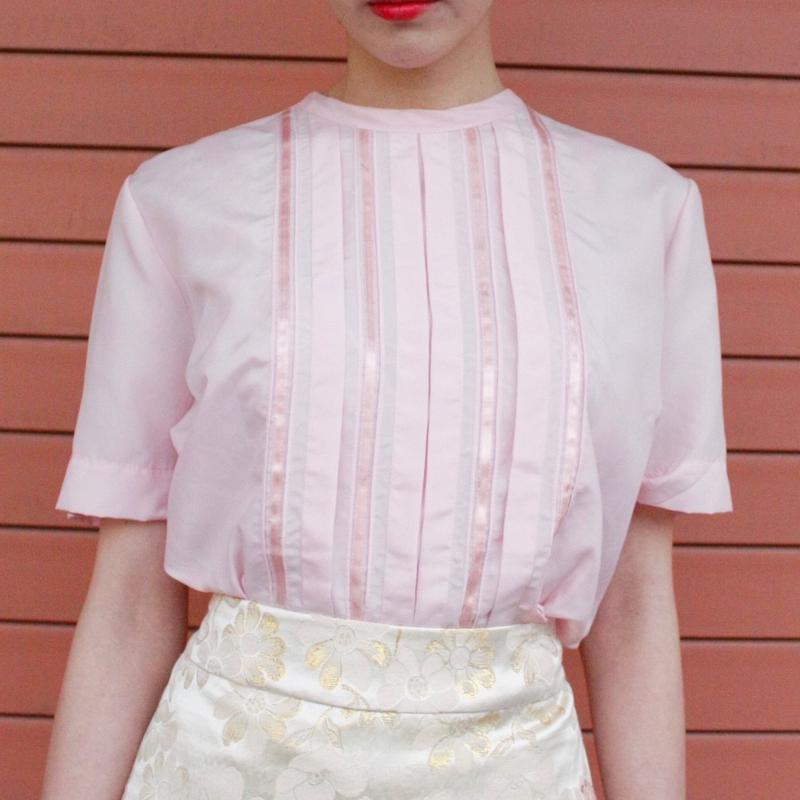 【Vintage】 center pleats pink shirt / ピンクセンタープリーツブラウス