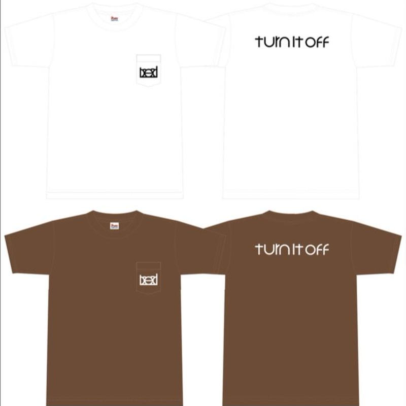 """turn it off""Pocket T-Shirt 2017 (chocolate×white)"