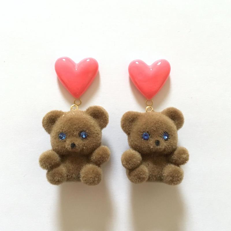 PINK HEART BEAR イヤリングorピアス